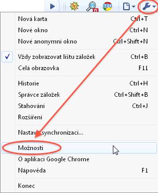 Návod - jak povolit cookies - Chrome - menu