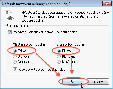 Návod - jak povolit cookies - nastavení ochrany osobních údajů