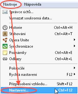 Návod - jak povolit javascript - Opera - menu